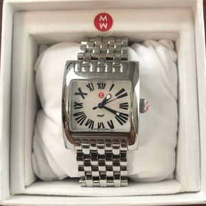 Michele square face stainless steel watch